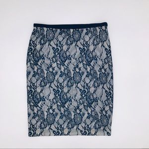 The Limited lace overlay skirt blue and silver 2